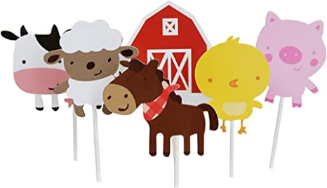 Cow Pig FREE SHIPPING 12 PACK Chicken Sheep First Birthday Party Picks Party Decor Farm Animals Cupcake Toppers