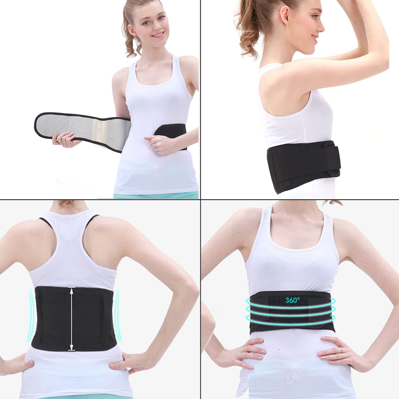 e00177f7f4d Amazon.com  Tcare Adjustable Tourmaline Self heating Magnetic Therapy Waist  Support Belt Lumbar Back Waist Brace Double Band Health Care  Health    Personal ...