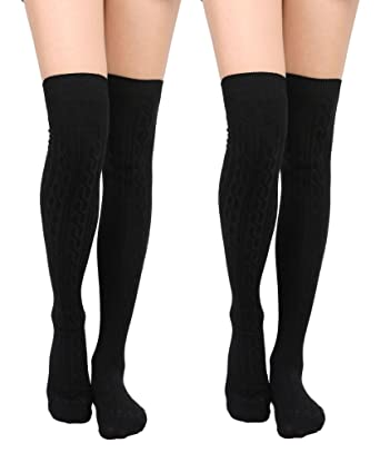 c6c9d8ea2a55a Womens Cable Knit Winter Knee Thigh High Stockings Socks 2Pack_Black/Black