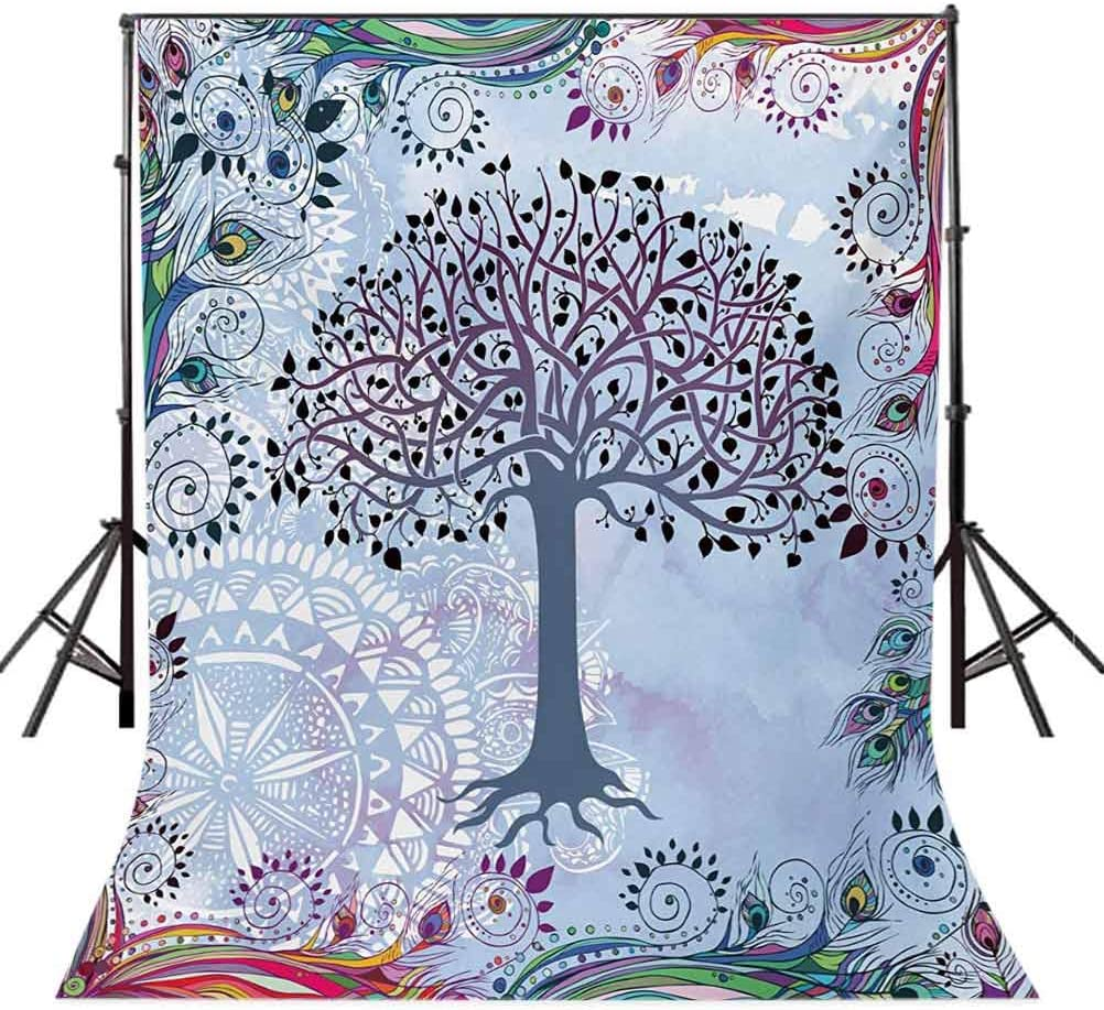 6.5x10 FT Backdrop Photographers,Cute Tree of Life Motif with Peacock Feathers Tribal Vintage Primitive Nature Background for Kid Baby Boy Girl Artistic Portrait Photo Shoot Studio Props Video Drape