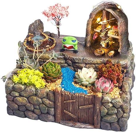 Zyangg-Home Miniatura Accesorios Jardín Las Plantas de jardín Decoración Hada del jardín de Flores suculento