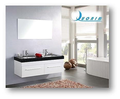Quonim mobile bagno con top in marmo con 2 lavandini specchio 2