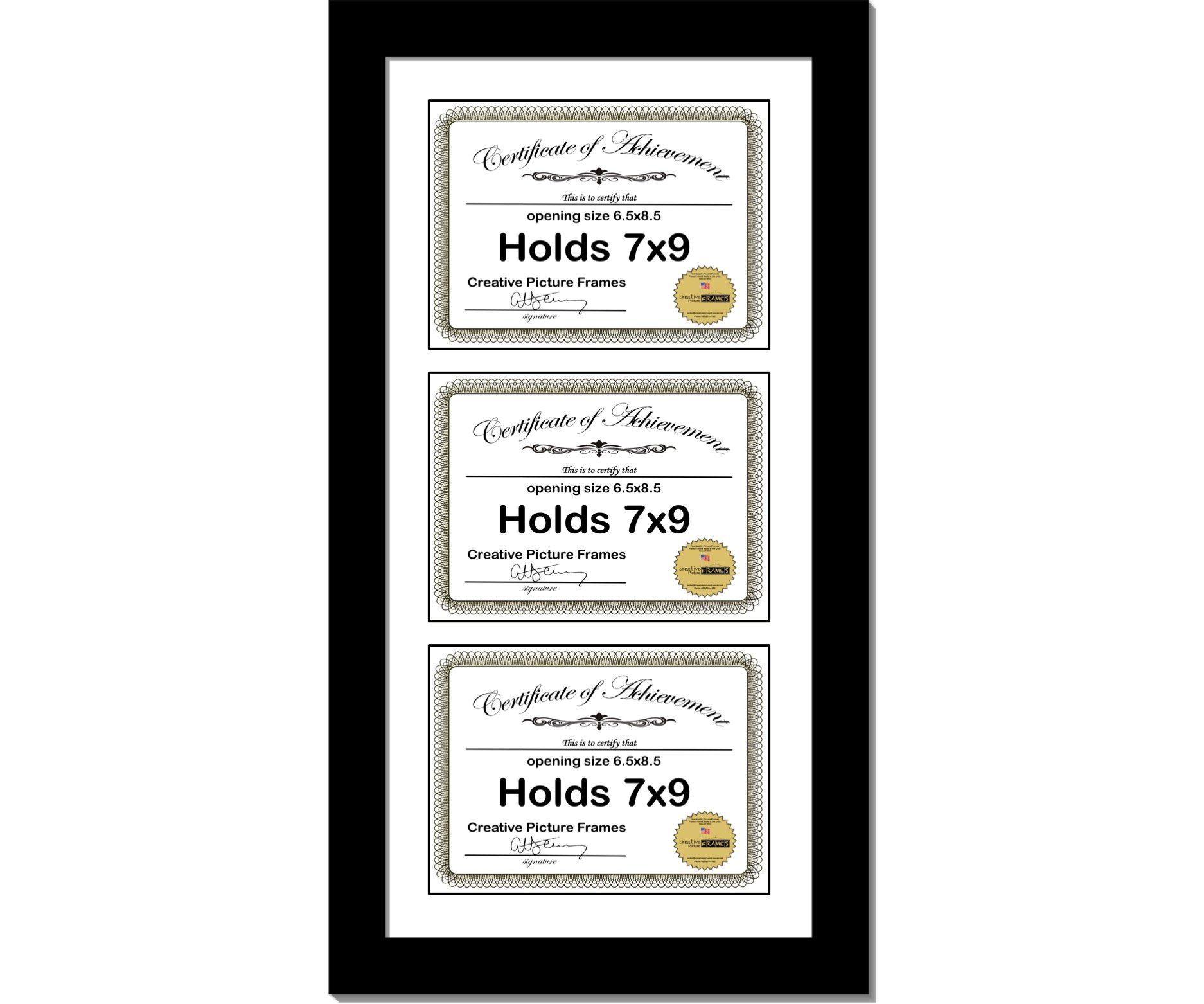 CreativePF [10x24bk-w] Black Vertical 7x9 Triple Diploma Frame with 3 Opening White Matting | Holds 3 7x9 inch Documents with Installed Wall Hanger