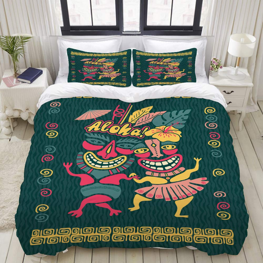 LIASDIVA Duvet Cover Set, Vintage Aloha Tiki Illustration Tropical Party, Colorful Decorative 3 Piece Bedding Set with 2 Pillow Shams, Queen Size