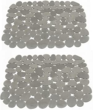 Pebble Kitchen Sink Mat PVC Sink Mat Pad Eco-Friendly Kitchen Adjustable Sink Protector by AHYUAN (Classic Grey)