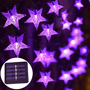 Windpnn Waterproof Solar Outdoor String Lights, 30.6 ft 50 LED Solar Powered Fairy Decorative Star String Lights for Garden Patio Christmas Home Wedding Party (Purple)
