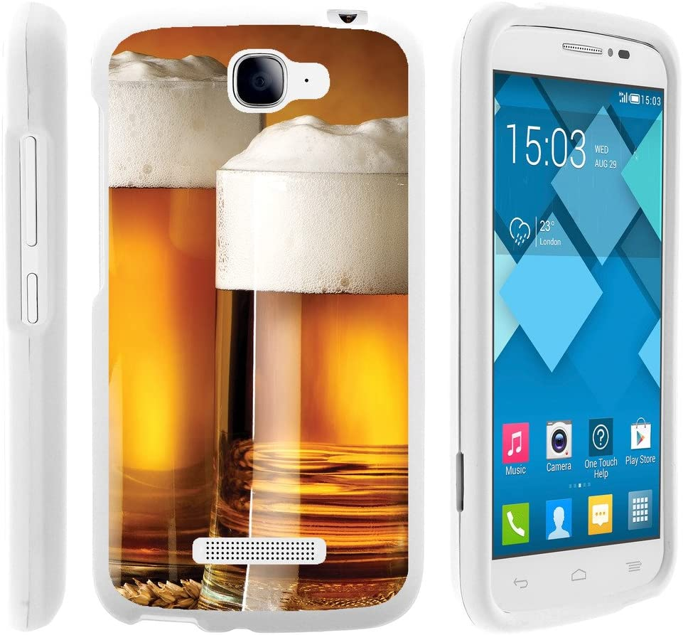 TurtleArmor | Compatible with Alcatel One Touch Fierce 2 Case | POP Icon Case [Slim Duo] Hard PC Plastic with Rubberized Coating 2 Piece Cover Shell on White Food - Glass of Beer