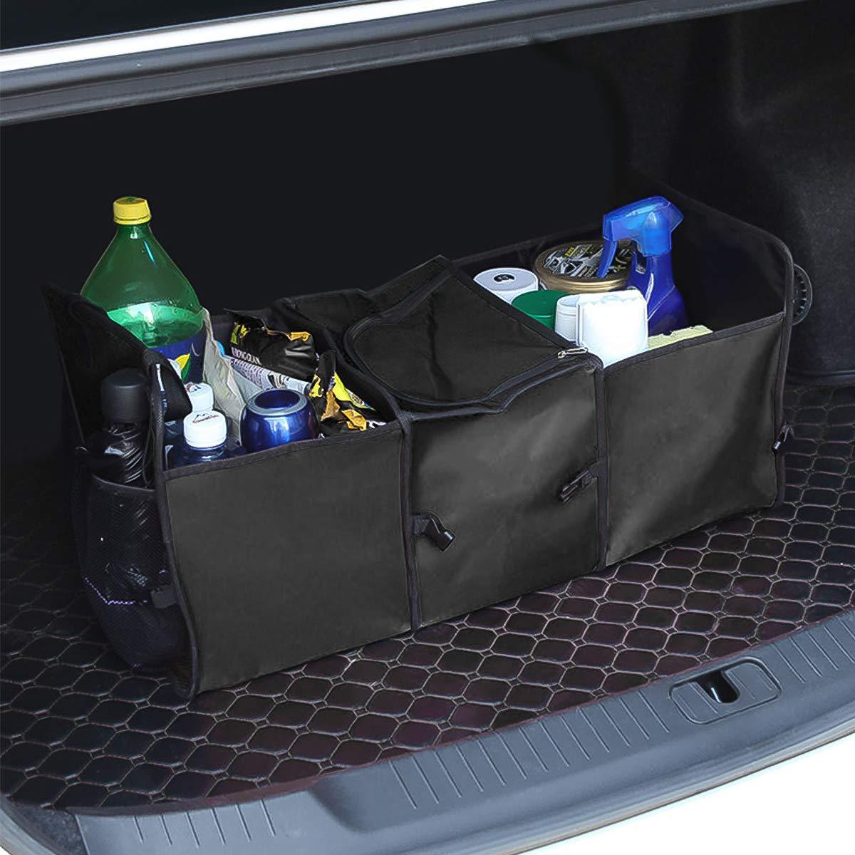 Blu Lato-Rete Ergocar Organizzatore per Auto Oxford Bagagliaio Auto Organizer con Multi Tasca Organizzatore di Immagazzinaggio con Sacchetto Isolante in Lamina per SUV//Auto//Camion