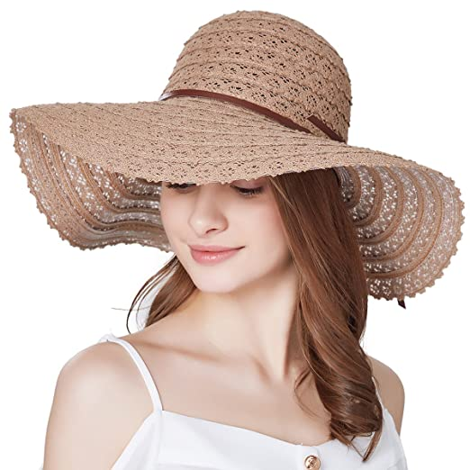 f60d1b74d2a Sun Hats for Women Roll-up Wide Brim Summer Beach Hat Foldable ...