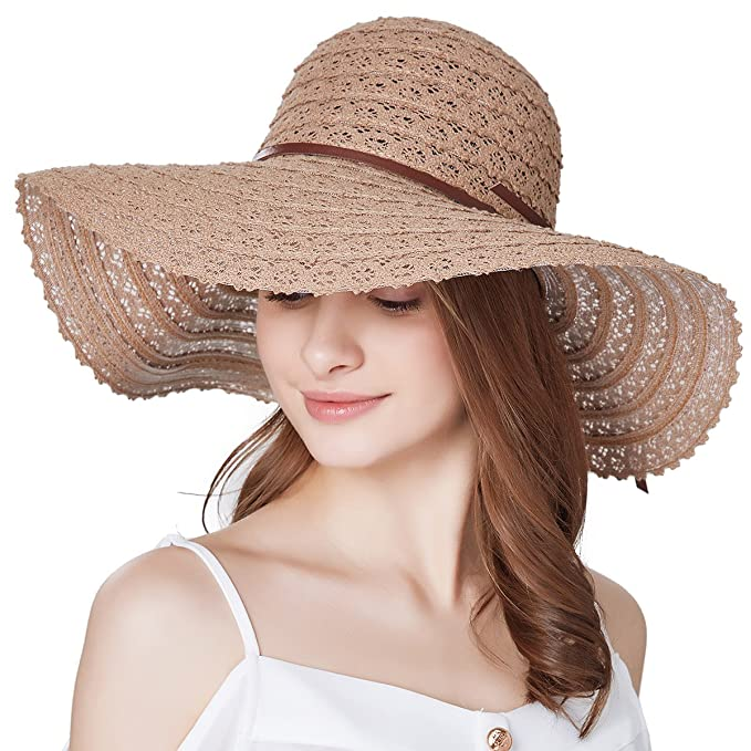 0b84a1ed15a05 Image Unavailable. Image not available for. Color  Sun Hats for Women  Roll-up Wide Brim Summer Beach Hat Foldable Floppy ...