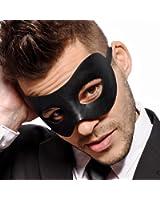 Classic - Men's Black Masquerade Mask - Faux Leather - Venetian - Mens - Unisex - Fancy Goods