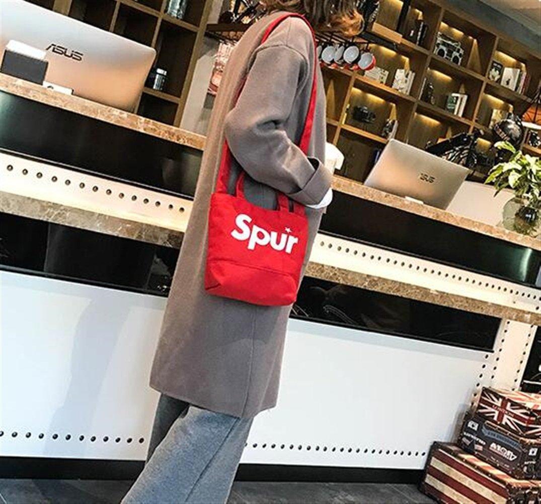 Payonr Womens Stylish Tote Bag Handbag Small Bag Female Japanese Style Wild Portable Messenger Bag Canvas Bucket Shoulder Bag Red