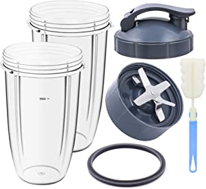 KONIGEEHRE Replacement Parts 32oz 24oz Cups and Extractor Blade with Flip Top To-Go Lid and Rubber Gasket Accessories fits Nutribullet 600W/900W Blender Models (6 Pieces)
