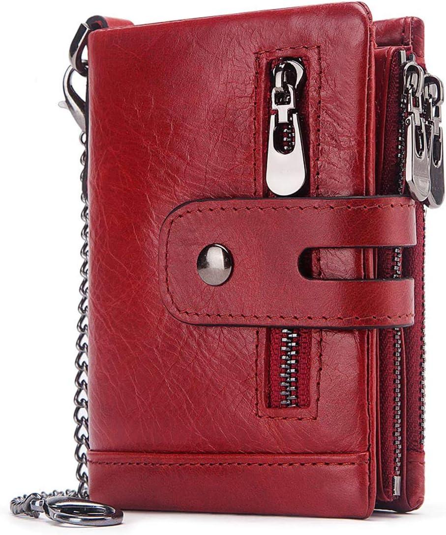 REETEE Cartera Mujer Piel Bloqueo RFID Monedero de Cuero Pequeño Mujer 16 Ranuras para Tarjetas Mujer Carteras con Cremallera Compartimiento Múltiple Billetera Bifold Mujeres (Rojo)