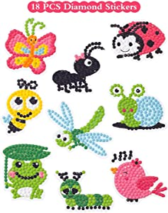 Sinceroduct 5D DIY Diamond Painting Craft Kits for Kids, 18 PCS Cartoon Stickers, Stick Paint with Diamonds by Numbers, Cute Insect, Animals