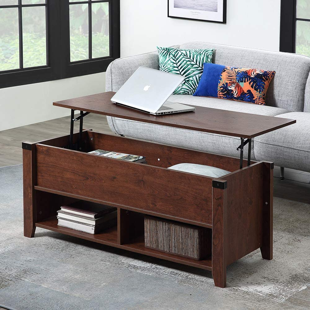 Amazon Com Ssline Lift Top Wooden Coffee Table Modern Living Room Lift Tabletop Dining Tables Cherry Finish Hidden Storage Coffee Table With Open Shelves For Home Office Reception Room Kitchen Dining