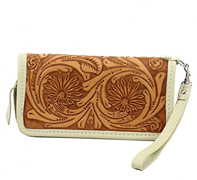 Double J Saddlery LZW18 Daisy Tooled Zip Wallet: Handbags