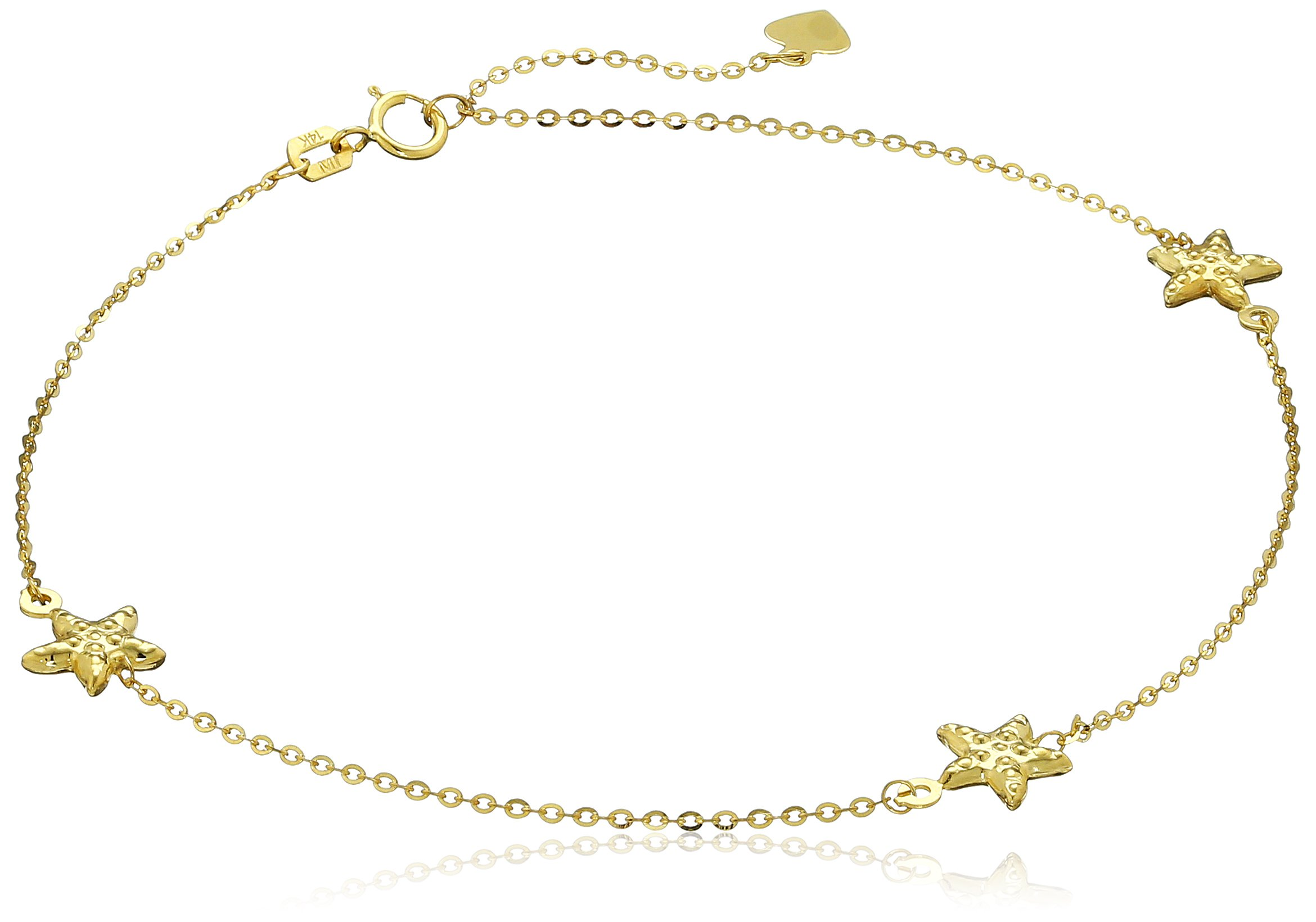 14k Yellow Gold Starfish Station Anklet, 10''
