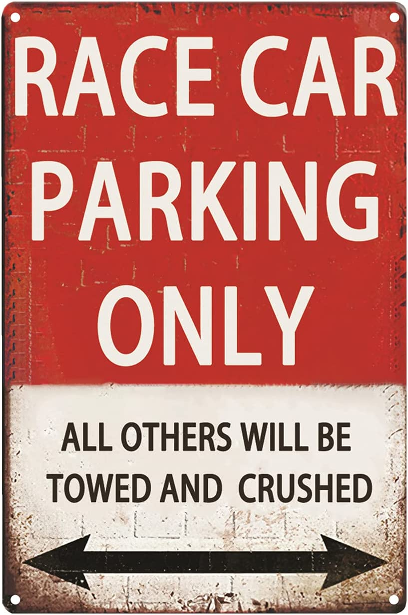 CWEIDP Race Car Room Decor for Boys,Vintage Car Metal Tin Signs Bedroom and Garage Cars Sign Wall Decor Race Car Parking Only 8x12 Inch