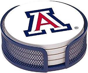 Thirstystone Stoneware Drink Coaster Set with Holder, University of Arizona