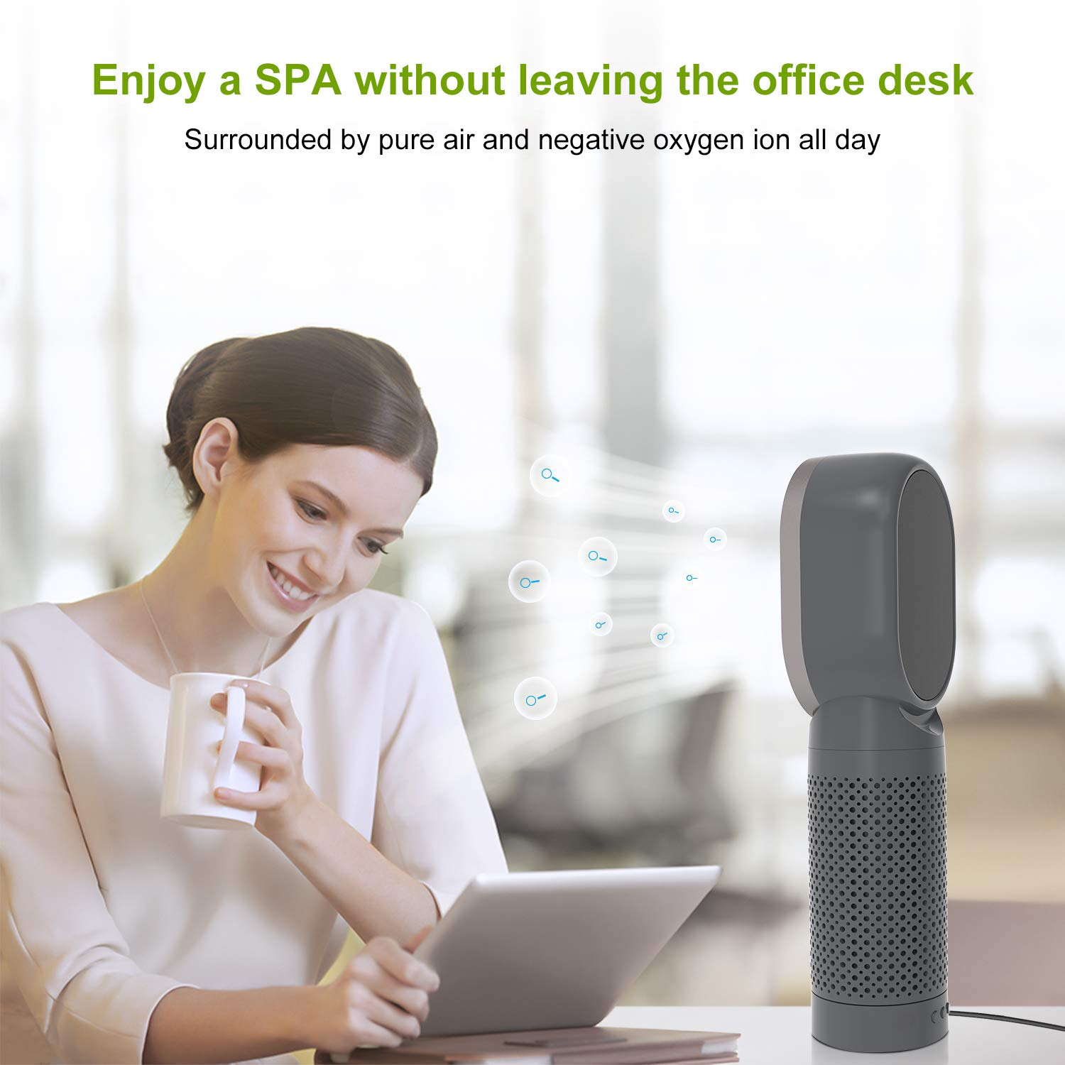 QUEENTY Desktop Air Purifier with True HEPA Filter, Personal Ioniser Air Cleaner for Allergies, Portable Negative Ion Air Eliminator for Dust, Smoke, Pollen Odor and Pet Dander (Dark Grey)