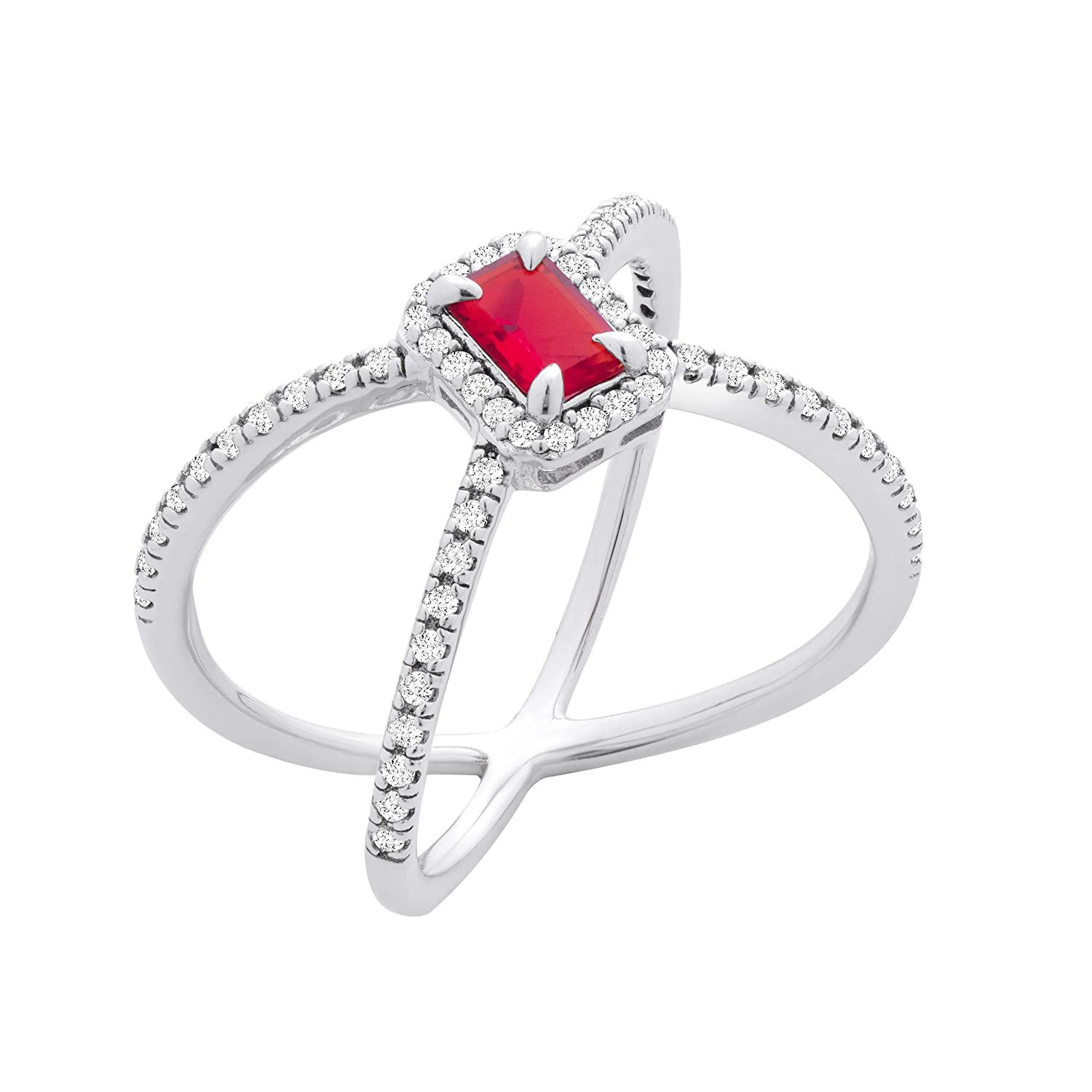 Chic Jewels RG2017-9 Sterling Silver Cubic Zirconia XCriss Cross Ring With An Red Emerald Cut Stone