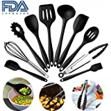 Silicone Kitchen Utensils Set, 10 Pieces Silicone Cooking & Baking Tool Sets Non-toxic Hygienic Safety Heat Resistant