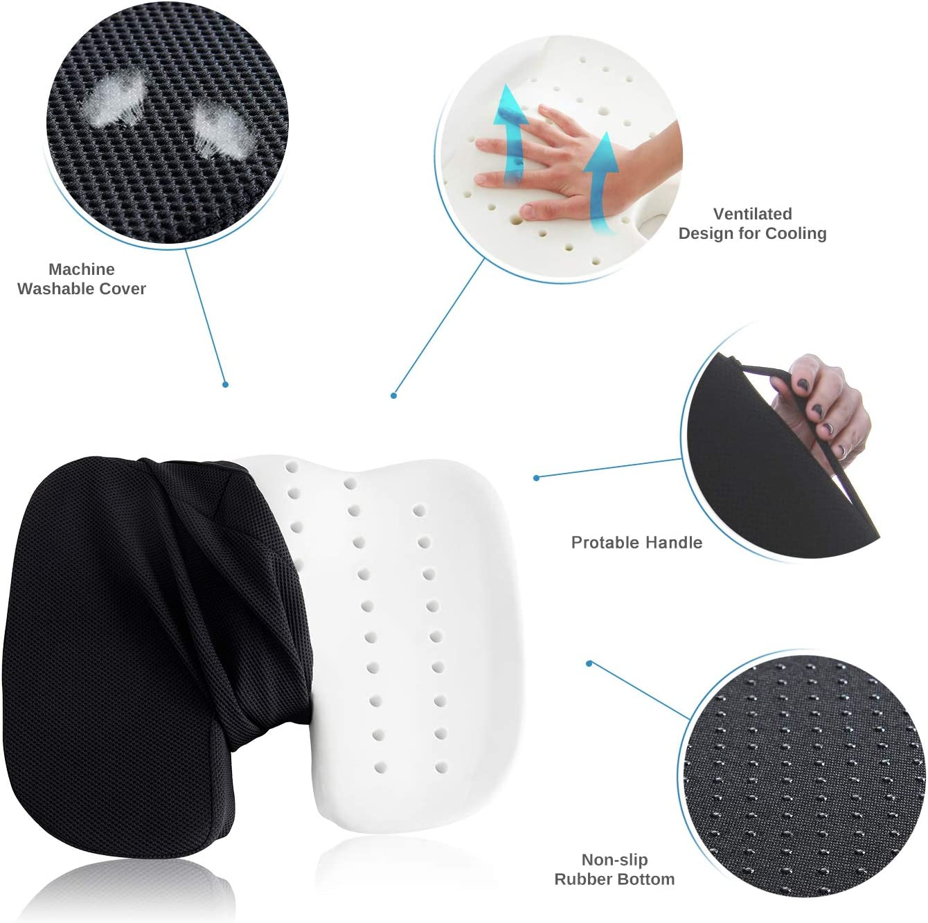 Coccyx Seat Cushion Orthopedic Memory Foam Seat Cushion for Car Office Wheelchair desk, Comfort Chair Tailbone Pillow, Ventilated Designed for Hip Back Sciatica Pain Relief,Non-Slip Portable black