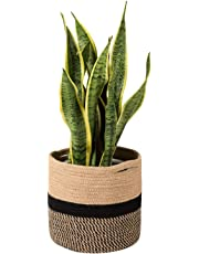 Goodpick Sturdy Jute Cotton Rope Plant Basket - Modern Woven Basket for 25CM Flower Pot Floor Indoor Planters, 28CM x 28CM Storage Organizer Basket Rustic Home Decor, Black and Beige Stripes