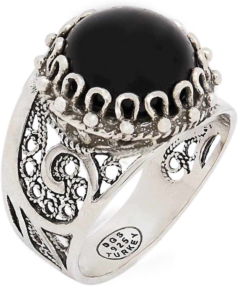 Size 5-12 925 Sterling Silver Black Onyx Round Filigree Paisley Ring