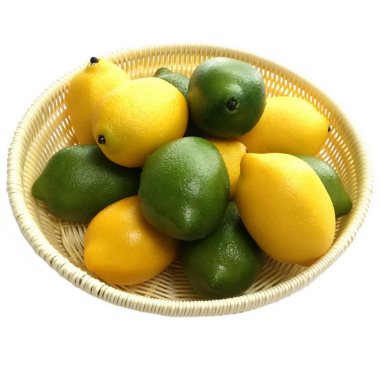 Gresorth 12pcs Yellow & Green Artificial Lifelike Simulation Lemon Fake Fruit Home Kitchen Cabinet Decoration