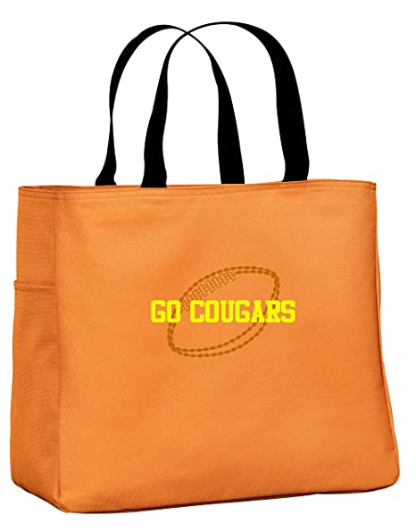 All about me company Personalized Embroidered Football Sport Essential Tote  Bag (Tangerine) 30be8c15b909f