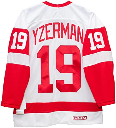 552d3b02ab7 Steve Yzerman Detroit Red Wings White CCM Jersey Sewn Tackle Twill Name and  Number (XXL