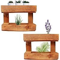 Pack 2 Jardineras Exterior de Madera — Soporte Maceteros Decorativos de Palets Rectangulares para Colgar en Pared…