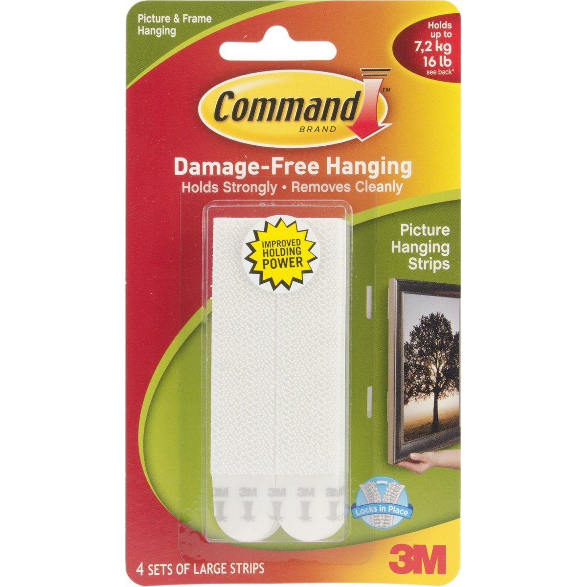 5X Command Large Picture Hanging Strips, 17206 (Each Pack contains 4 Sets)