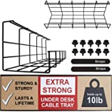 Under Desk Cable Tray - Super Sturdy Cable Organizer for Wire Management. Metal Wire Cable Tray for Office, Studio and…
