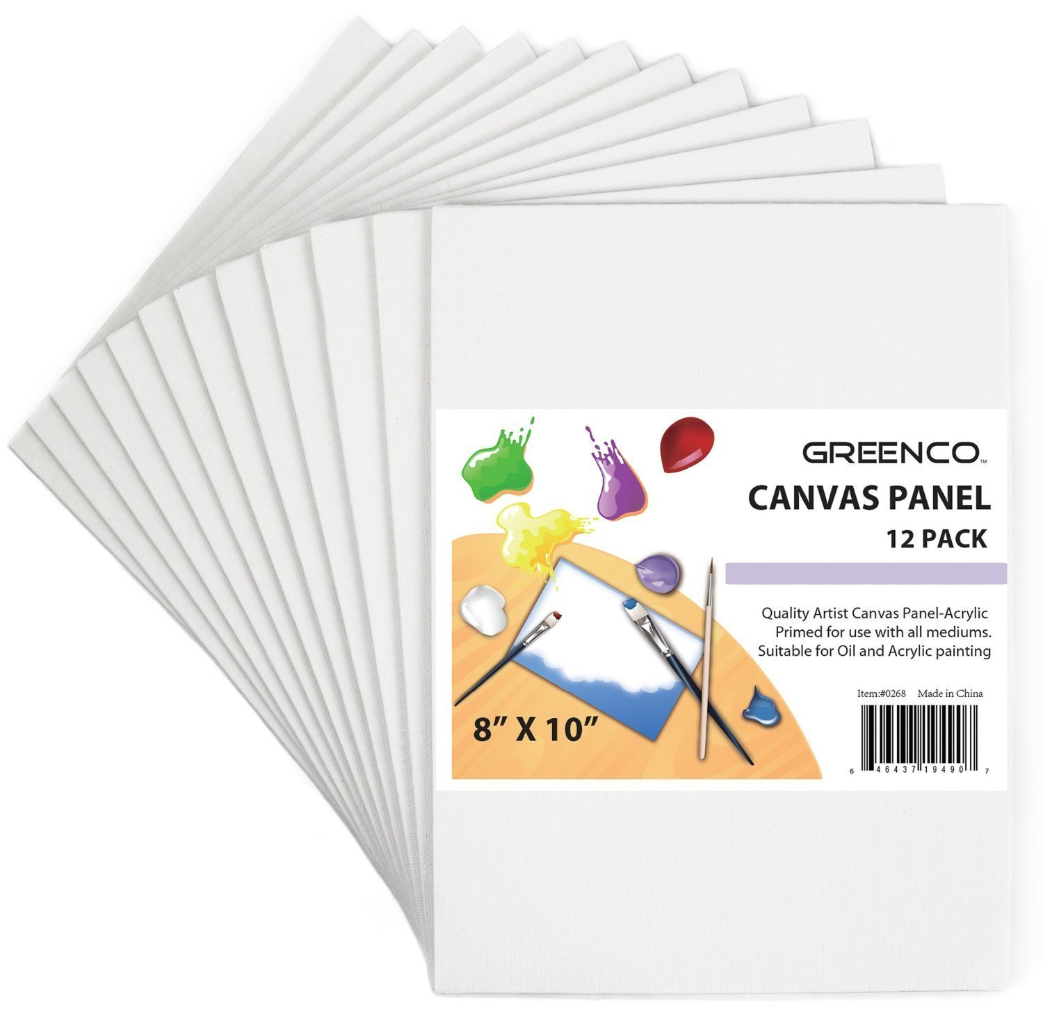 Greenco Professional Quality Canvas Panel 8 x 10 inch -Pack of 12 by Greenco