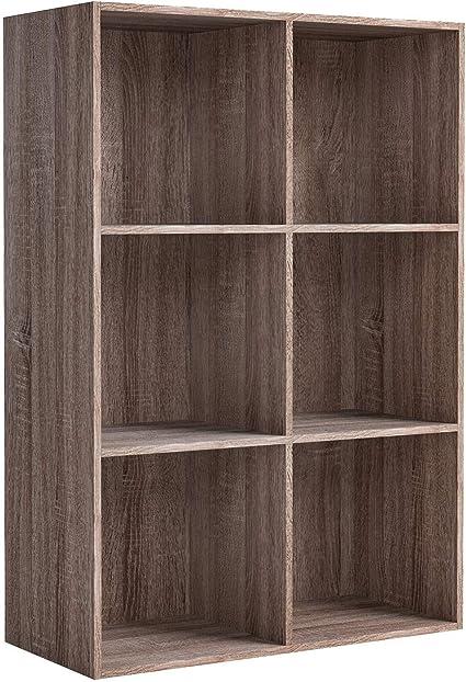 Homfa Estantería Librería Estantería para Libros Estantería de Pared Estantería Almacenaje con 6 Compartimentos Roble Oscuro 65.5x29.5x96.5cm