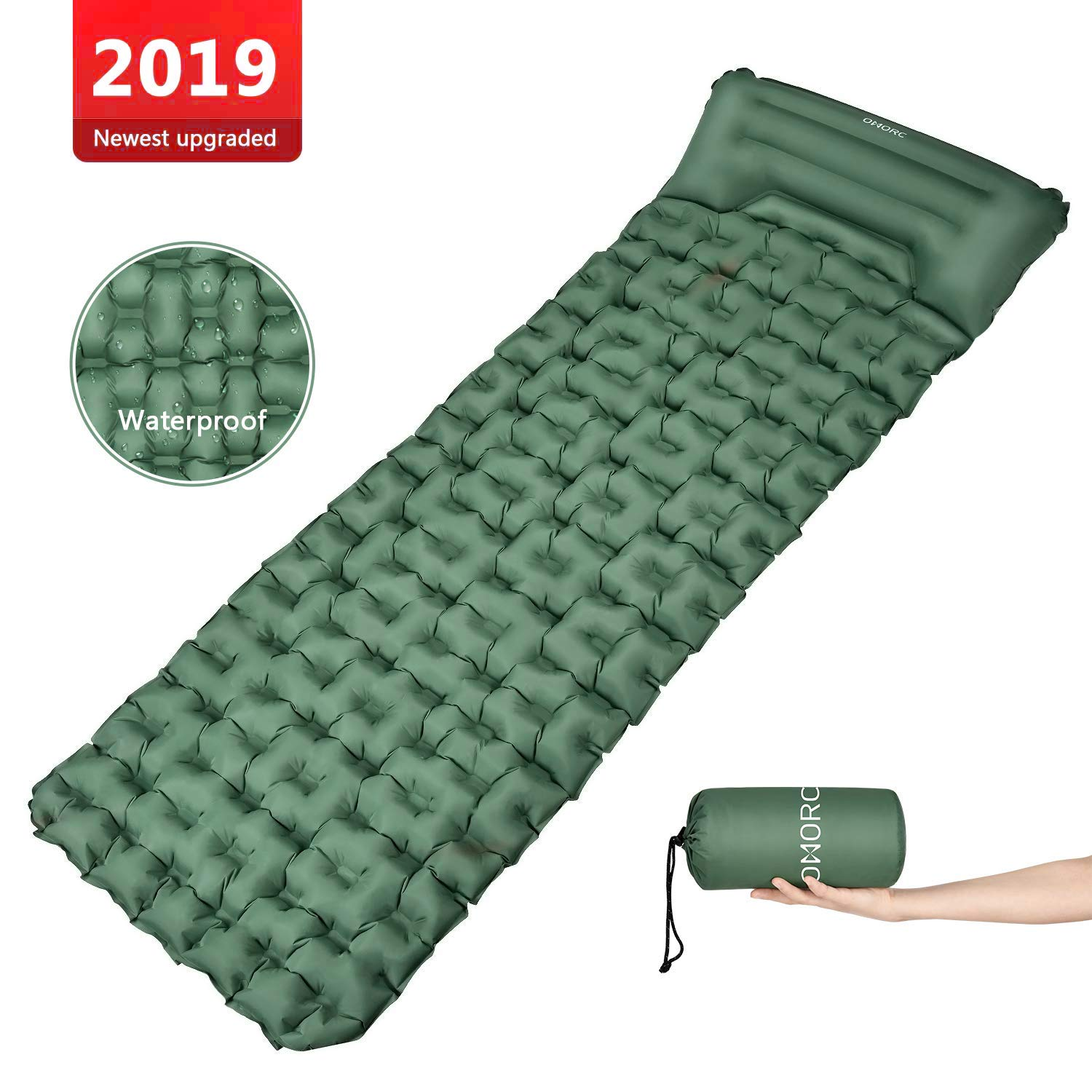 OMORC Camping Sleeping Pad -Mat (Large), Lightweight and Compact ,Camp Sleep Pad , Perfect Sleeping Pads for Backpacking, Traveling and Hiking Air Mattress ,With adjustable built-in pillow (Green) by OMORC
