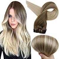 Full Shine Remy Clip in Hair Extensions Ash Brown Color 8 Fading to Color 60 Platinum Blonde Balayage Clip in Human Hair Extensions 18 Inch Clip in Real Hair 100 Gram 10 Pcs