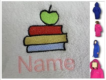 Albornoz con capucha para niños con libros Logo y tira de nombre de cada tu elección
