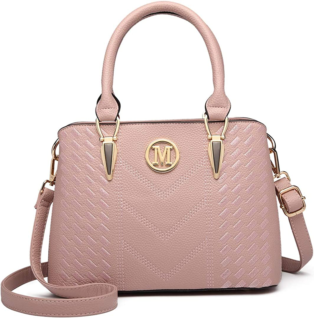 Miss Lulu Handbags for Women Woven Pattern and Chevron Shoulder Bag Faux Leather Top Handle Tote Front M Logo