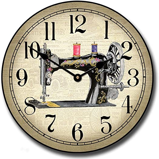 Sewing Room 2 Wall Clock, Available in 8 Sizes, Most Sizes Ship 2-3 Days, Whisper Quiet.
