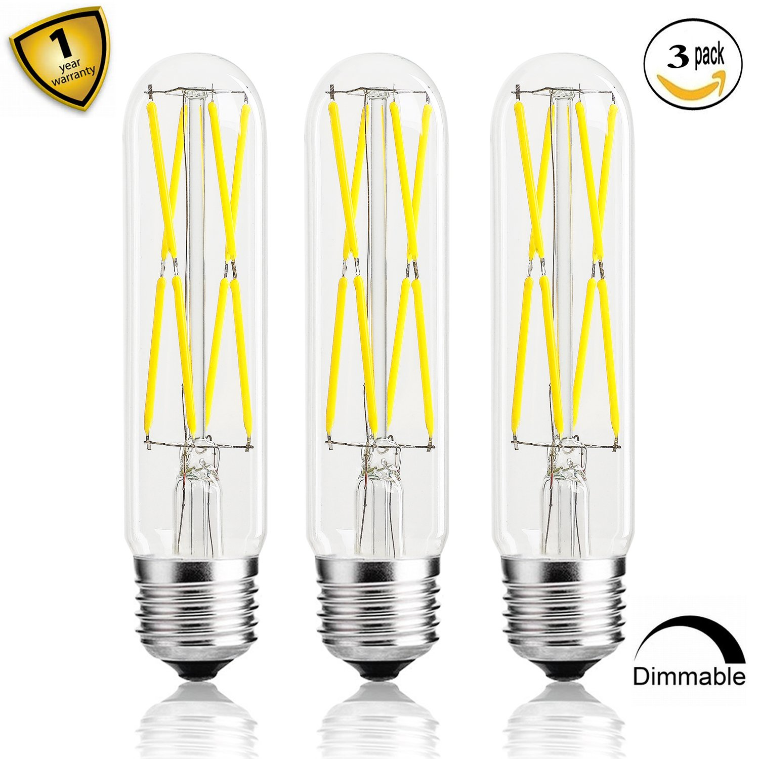 Leools Dimmable Edison Led Tubular Bulb T10,8W Vintage Led Filament Light Bulb 75W Incandescent, 4000K Daylight Glow,E26 Medium Base Lamp Bulb,3 Pack