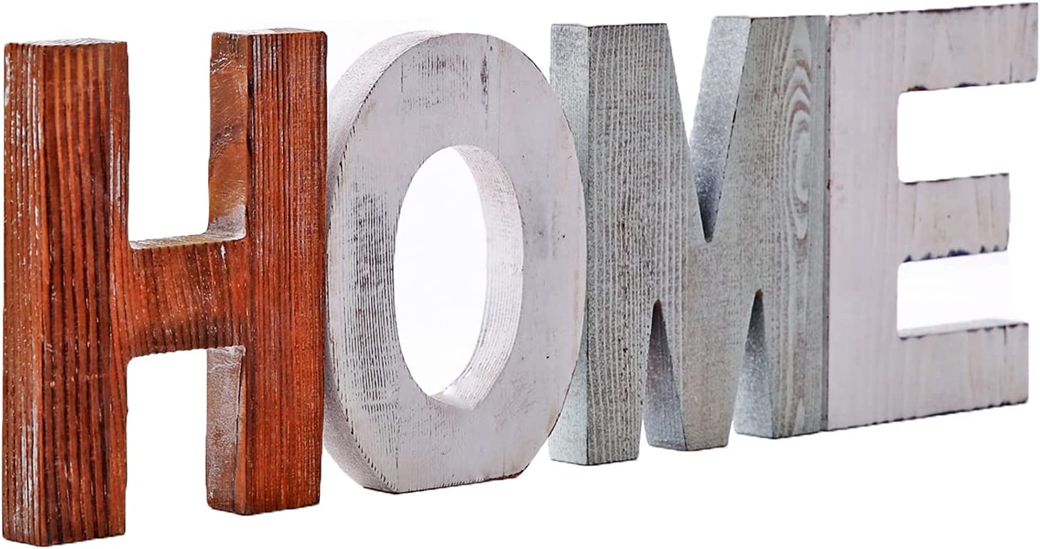 Wood Home Sign Decorative Wooden Block Word Signs, Freestanding Dual Purpose On Wall and Desk Wooden Cutout Letters, Home Decoration for Living Room