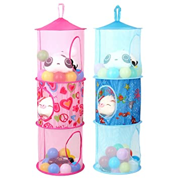 Homecube Hanging Mesh Space Saver Bags Organizer 3 Compartments Toy ...