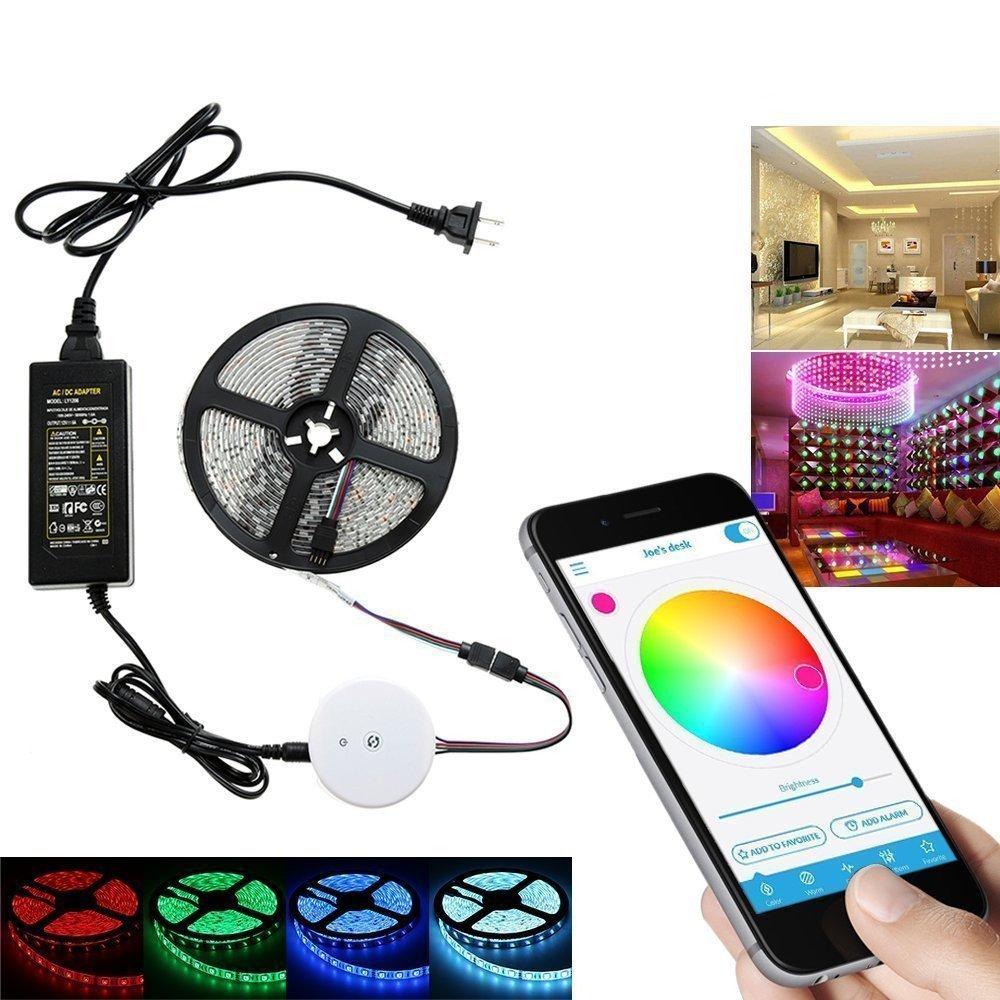 HTAIYN 5 Mt 60 Watt SMD5050 nicht wasserdicht Blautooth APP Steuerung RGB LED Streifen Licht Kit + 12 V 5A Netzteil popular (Farbe   US plug)