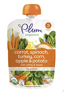 Plum Organics Stage 3, Organic Baby Food, Carrot, Spinach, Turkey, Corn, Apple and Potato, 4 Ounce Pouches (Pack of 12) (Packaging May Vary)