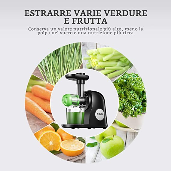Licuadora Prensado en Frio, Aicok Slow Juicer Función del Motor Silencioso y Inversa, Licuadoras para verduras y frutas, Fácil de Limpiar con Cepillo, Recetas de Máquina de Jugo para Verduras y Frutas: