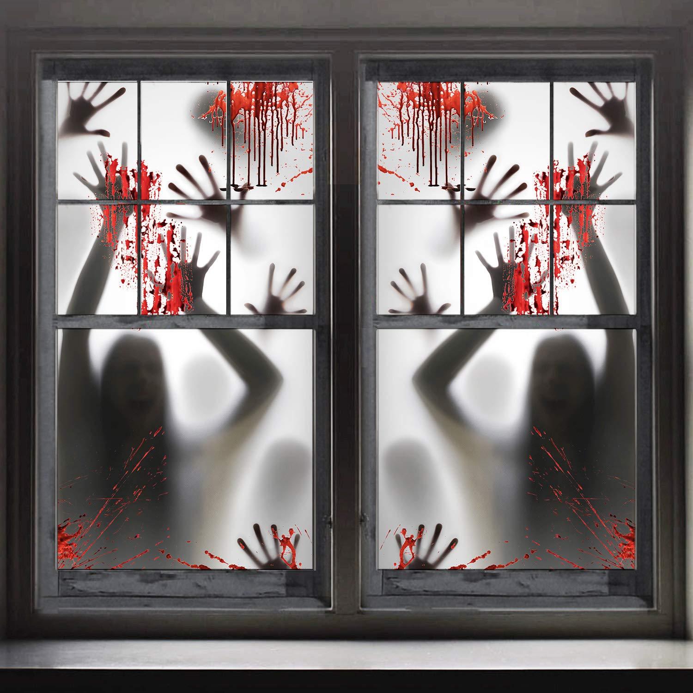 FUNNISM 2PCS Halloween Haunted House Decoration Window Door